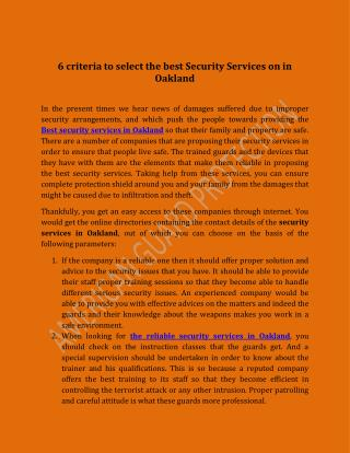 Criteria To Select The Best Security Services On In Oakland