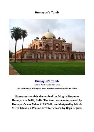 Humayun's Tomb The Most Beautiful Tomb in Delhi