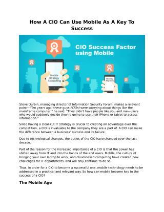How ACIOC an Use Mobile As A Key To Success