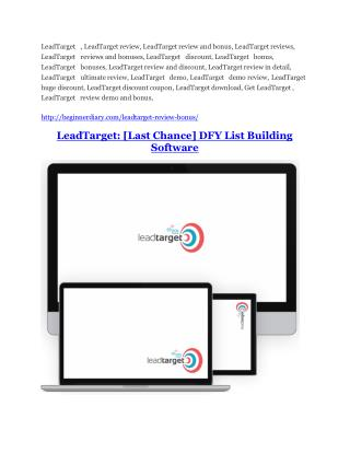 LeadTarget Review - 80% Discount and $26,800 Bonus