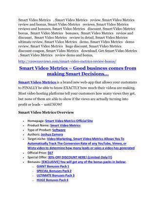 Smart Video Metrics review demo and premium bonus