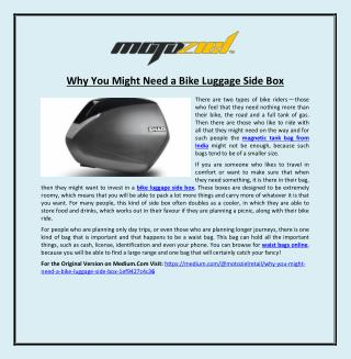 Why You Might Need a Bike Luggage Side Box