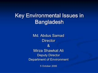 Key Environmental Issues in Bangladesh
