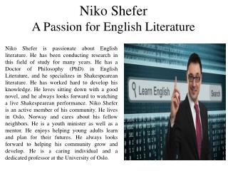 Niko Shefer - A Passion for English Literature