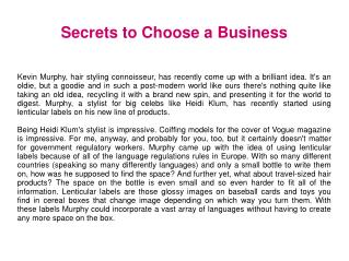 Secrets to Choose a Business
