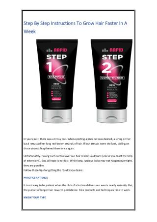 Step By Step Instructions To Grow Hair Faster In A Week