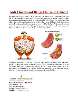 Anti Cholesterol Drugs Online in Canada