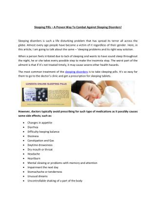 Sleeping Tablets � The Proven Solution Of Sleeping Disorders