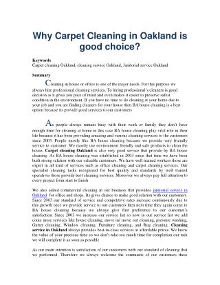 Why Carpet Cleaning in Oakland is good choice?