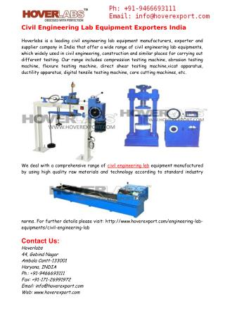 Civil Engineering Labs Equipment Exporters India