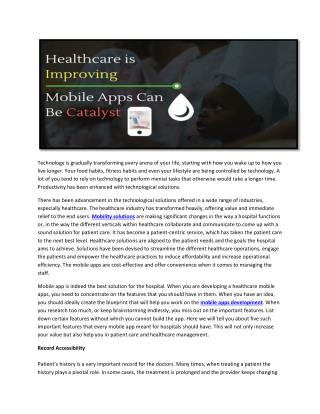 Top 5 Smart Features For Heath care Mobile Apps