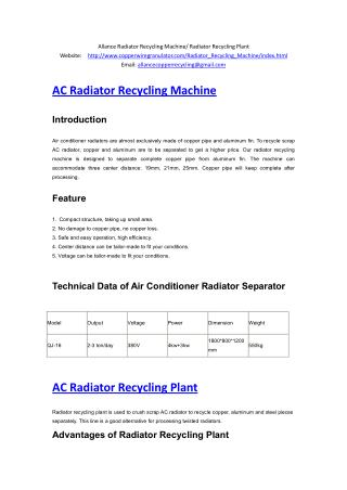 Allance Radiator Recycling Machine