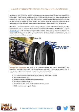 A Bunch of Reasons Why Michelin Pilot Power Is The Tyre For Bikes