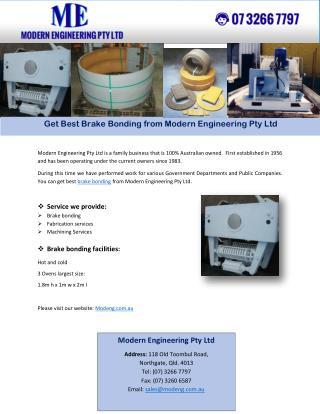 Get Best Brake Bonding from Modern Engineering Pty Ltd