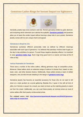 Gemstone Ladies Rings for Instant Impact on Sightseers