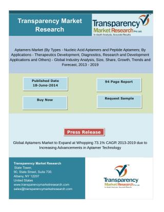 Aptamers Market to Expand at Whopping 73.1% CAGR 2013-2019 due to Increasing Advancements in Aptamer