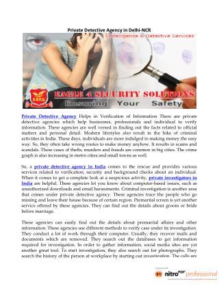 Private Detective Agency in Delhi-NCR