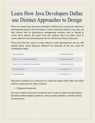 Learn How Java Developers Dallas use Distinct Approaches to Design Objects