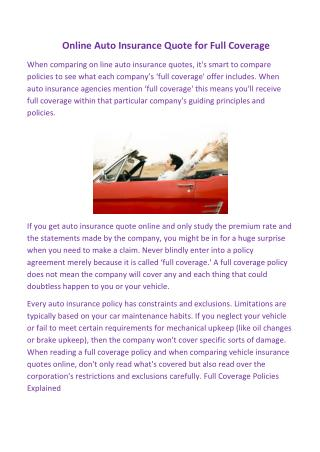 Online Auto Insurance Quote for Full Coverage