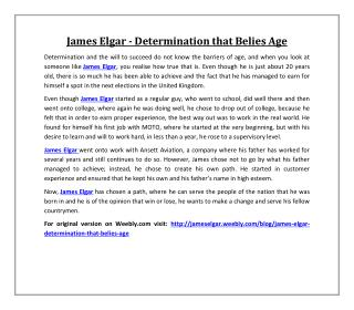 James Elgar - Determination that Belies Age