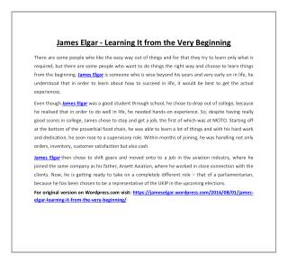 James Elgar - Learning It from the Very Beginning