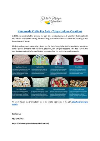 Handmade Crafts For Sale - Tobys Unique Creations