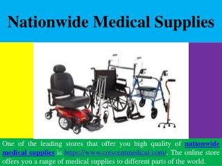Nationwide Medical Supplies & Medical Equipment
