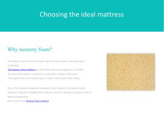 Choosing the Ideal Mattress