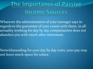 Importance of Passive Income Sources