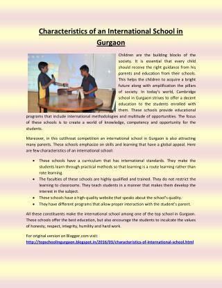 Characteristics of an International School in Gurgaon