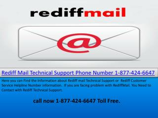 Rediff Mail Technical Support Phone Number 1-877-424-6647