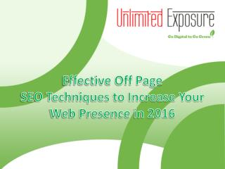 Effective Off Page SEO Techniques to Increase Your Web Presence in 2016