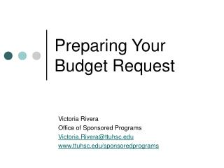 Preparing Your Budget Request