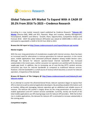 Global Telecom API Market To Expand With A CAGR Of 20.2% From 2016 To 2023 � Credence Research