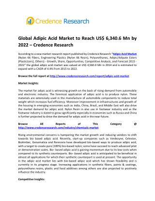 Global Adipic Acid Market to Reach US$ 6,340.6 Mn by 2022 – Credence Research