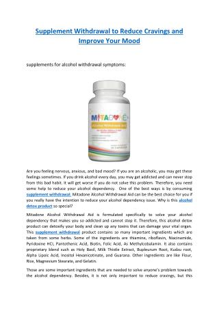 supplements for alcohol withdrawal symptoms