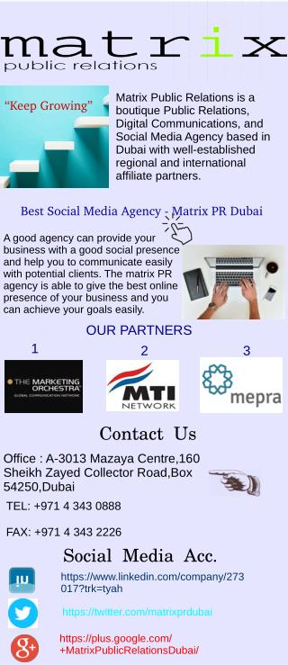 Best Social Media Agency - Matrix PR Dubai
