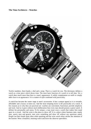 The time architects – watches