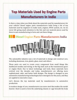 Top Materials Used by engine Parts Manufacturers in India