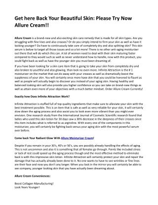 Get here Back Your Beautiful Skin: Please Try Now Allure Cream!!