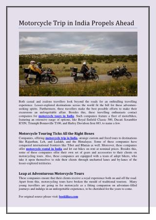 Motorcycle Trip in India Propels Ahead