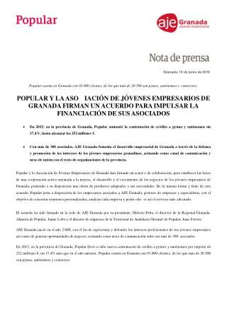 �ngel Ron y la Asociaci�n de J�venes de Granada firman un acuerdo para impulsar la financiaci�n de sus asociados