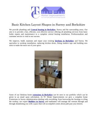 Basic Kitchen Layout Shapes in Surrey and Berkshire