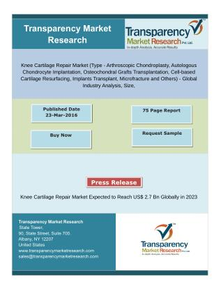 Knee Cartilage Repair Market Demand Increases With Growing Medical Tourism in Asian Countries,Reach US$ 2.7Bn Globally i