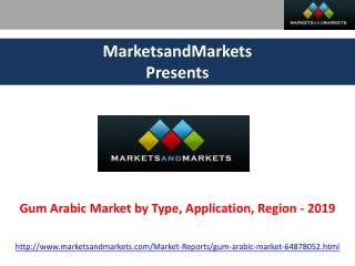 Gum Arabic Market by Type, Application, Region - 2019