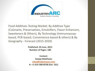 Food Additives Testing Market: North America is the leading region with many testing centers and labs