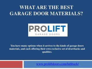 What are the Best Garage Door Materials?