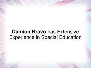 Damion Bravo has Extensive Experience in Special Education