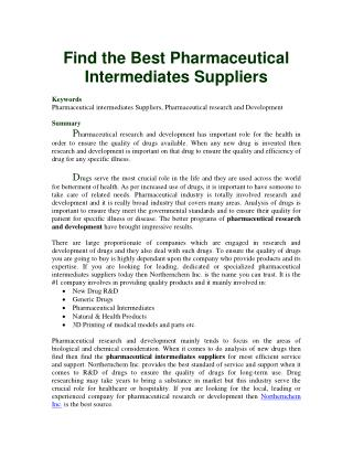 Find the Best Pharmaceutical Intermediates Suppliers