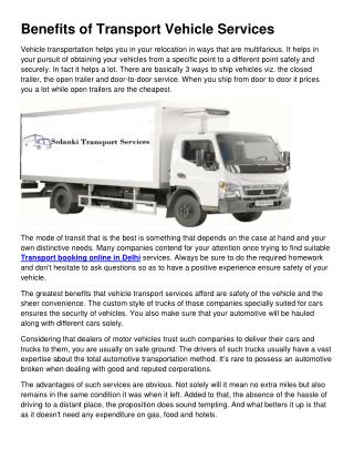 Benefits of Transport Vehicle Services